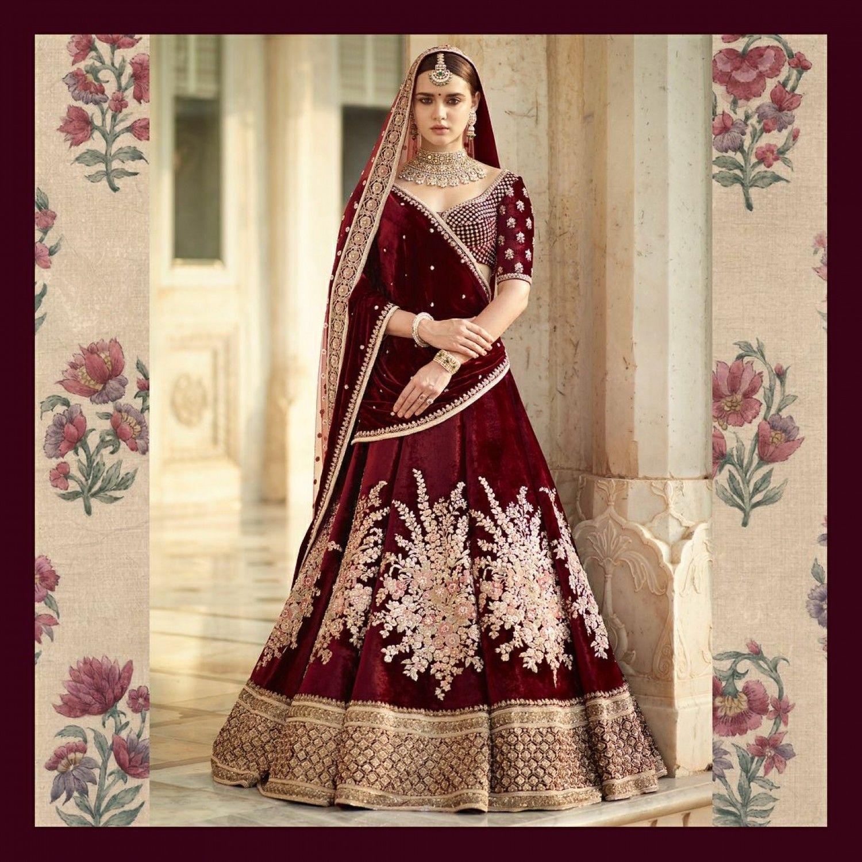 Beautiful maroon embroidered bridal lehenga bridal