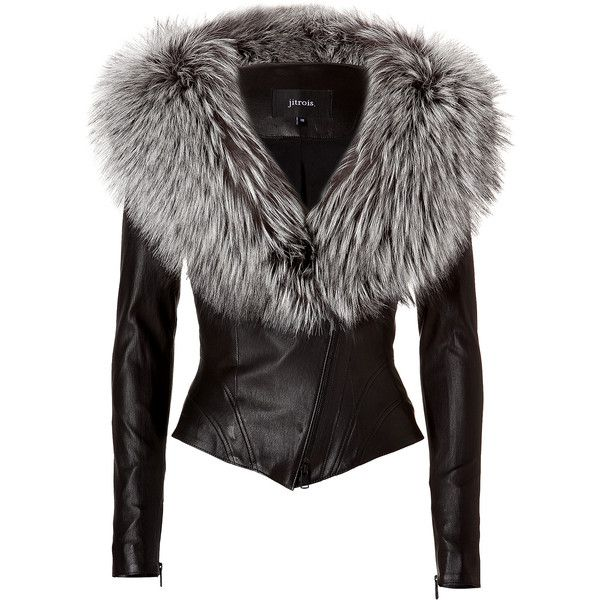 JITROIS Leather Jacket With Silver Fox Fur Collar In Black (€5.710 ...