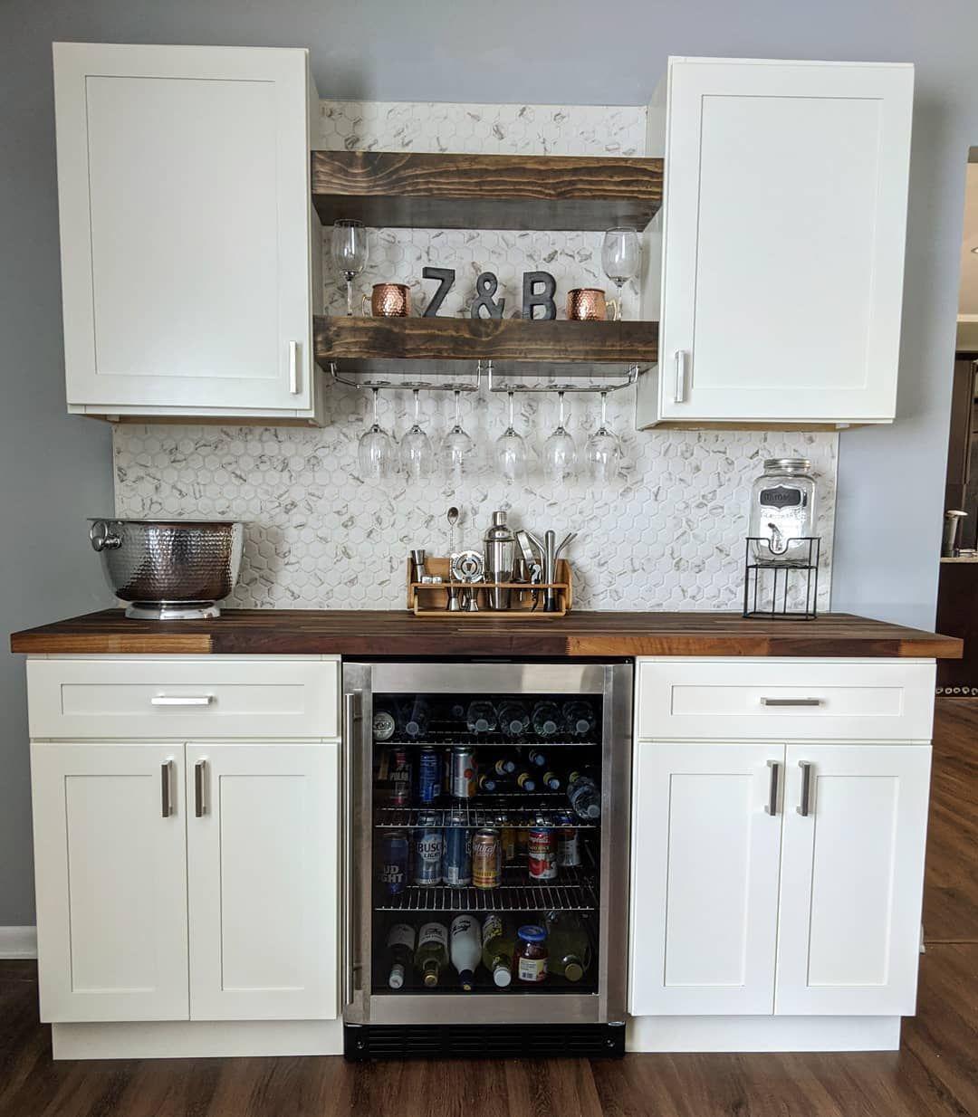 DIY Dry Bar project   Kitchen bar design, Living room bar, Kitchen ...