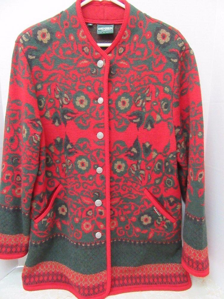 GEIGER Austria Womens Wool Floral Cardigan Sweater Jacket 40 Red ...