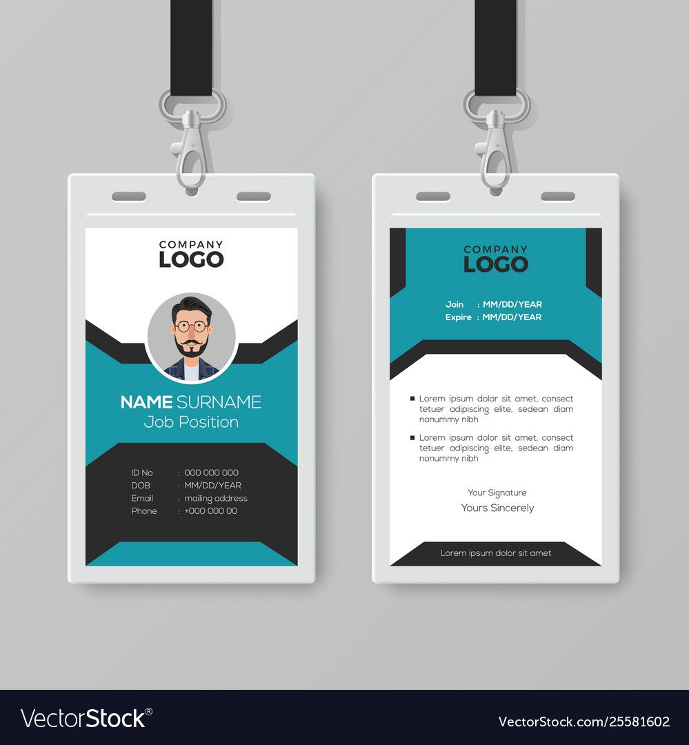 Creative employee id card template within template for id