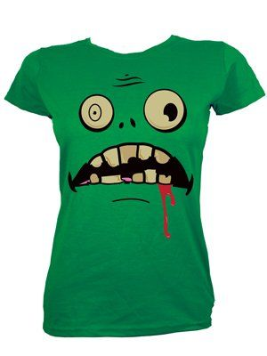 Crazed Zombie Ladies Green Halloween T-Shirt   Rock fashion ...