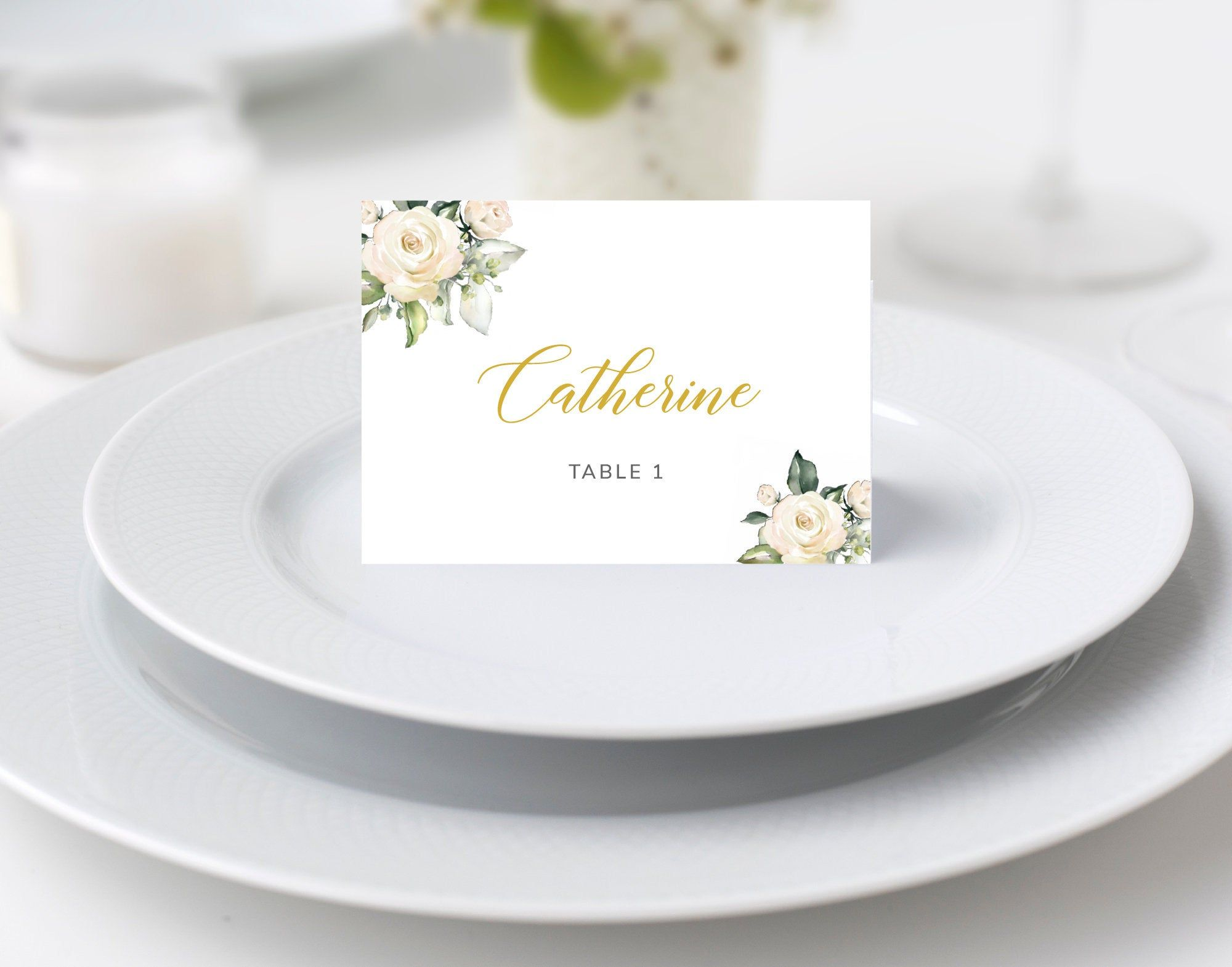 White Floral Place Cards Template Floral Tent Cards Wedding Etsy Wedding Place Cards Wedding Place Card Templates Place Card Template