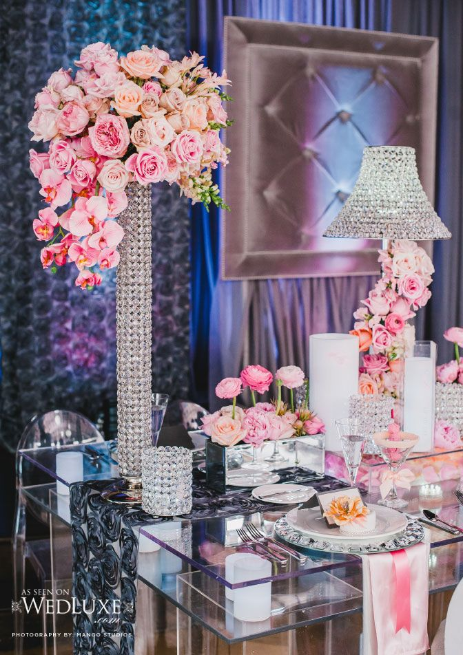 Tufted Grey Backdrop And Tall Centerpieces Photographer