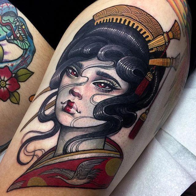 Japanese Ghost In The Shell Geisha Tattoo Neo Japanese Tattoo