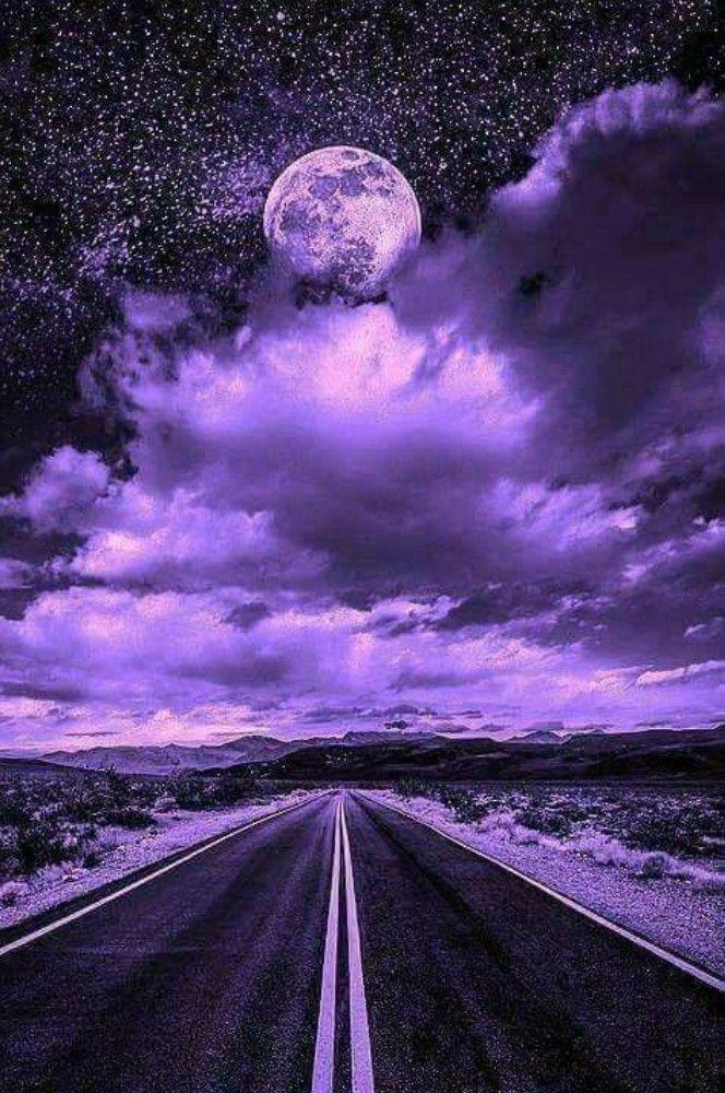 Pin by kay t on painting purple sky purple aesthetic - Purple moon wallpaper ...