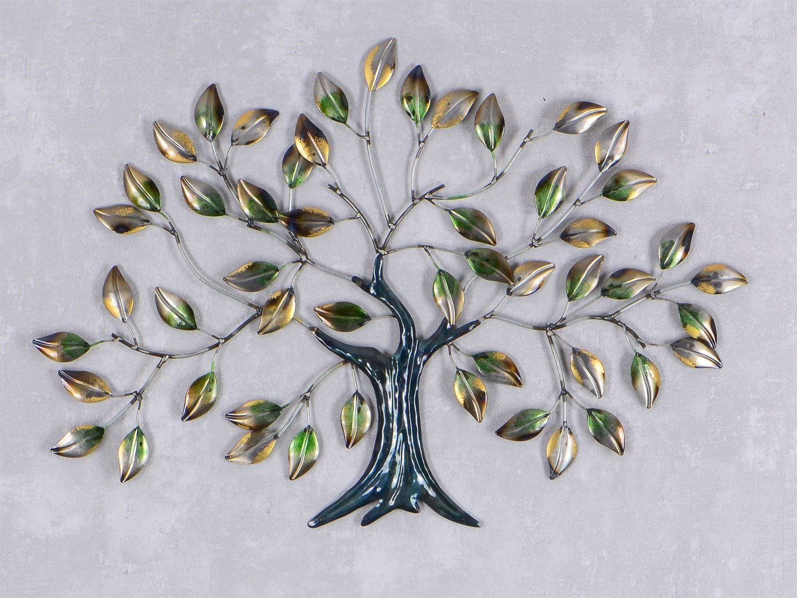 WAND DEKO Baum   Blätter Aus Metall Breite 67cm Höhe 45cm   Silber Bunt