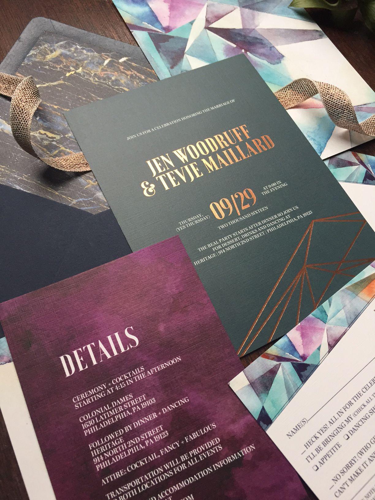 Copper foil geometric jeweltoned wedding invitation