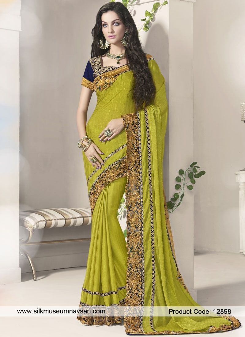 Amazing Moderate Yellow Designer Saree