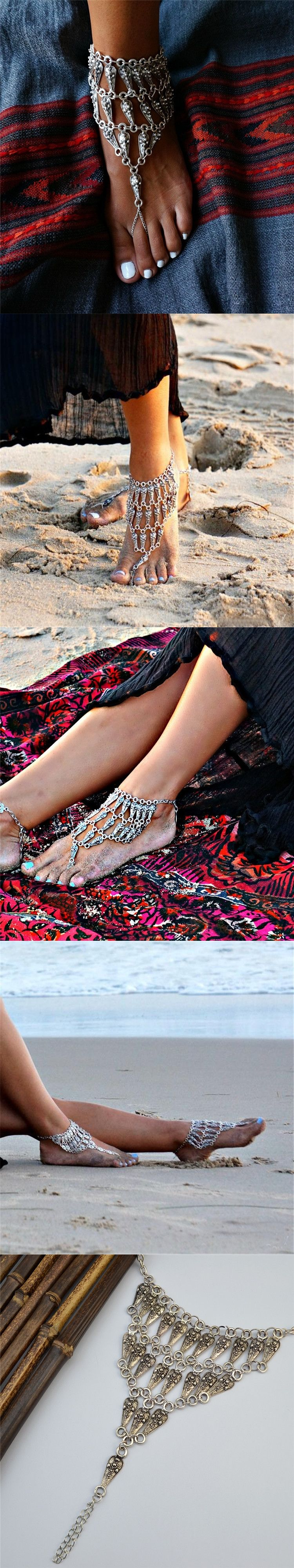 sexy starry foot national item from rune gift shipping jewelry yoga free chains in o accessories double female on beach retro anklets anklet pendant accessory