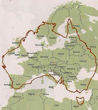 Australia vs Europe in size