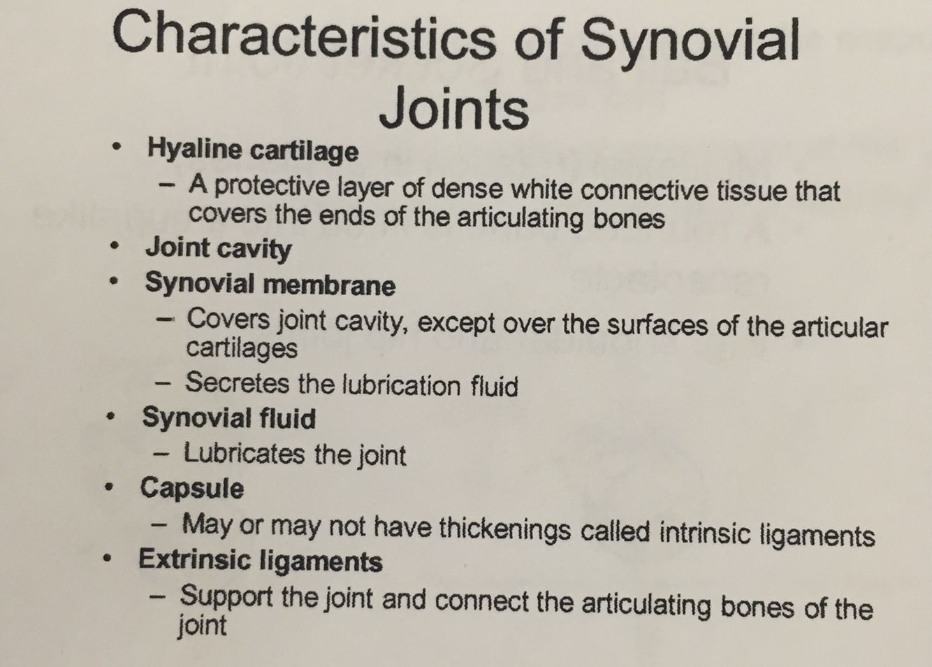 Characteristics Of Synovial Joints This Joint Is In 3