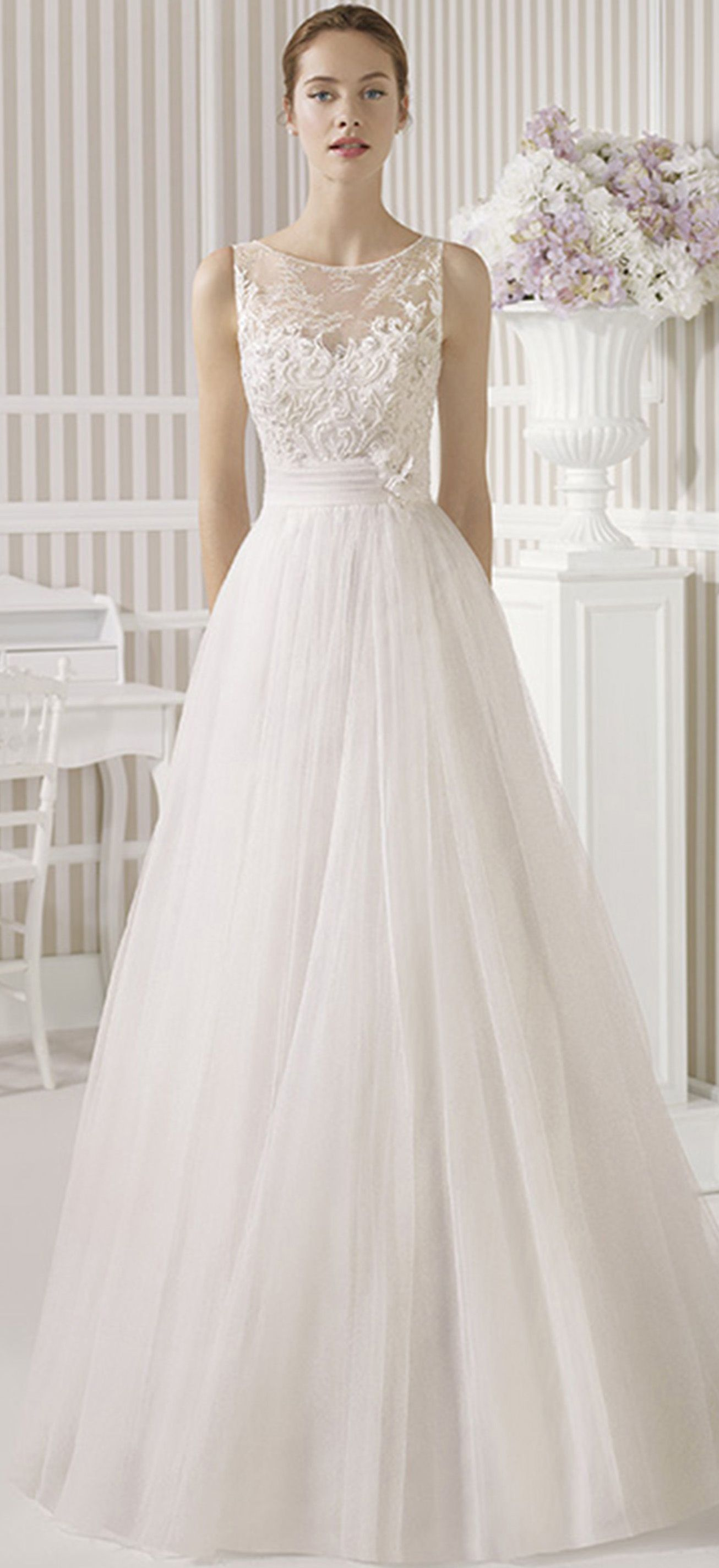 Aline scoop long lace sleeveless satinutulle wedding dress with