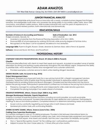 rutgers business school resume template fresh download