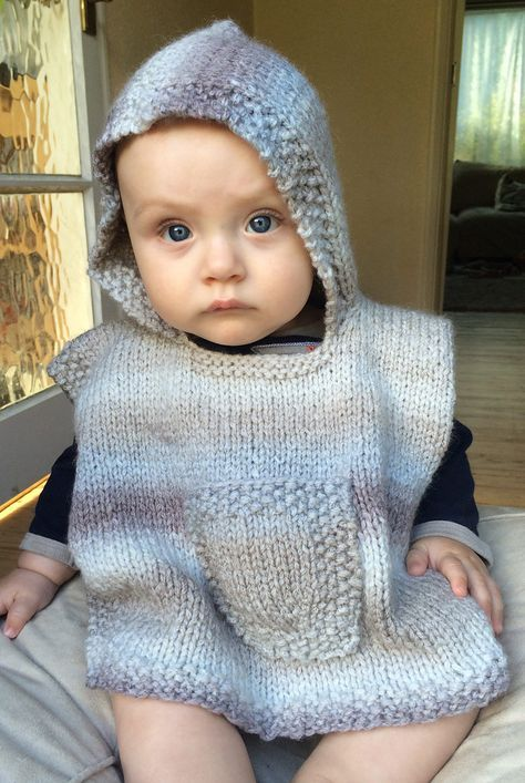 Free Knitting Pattern for Hooded Baby Poncho - Easy poncho with hood ...