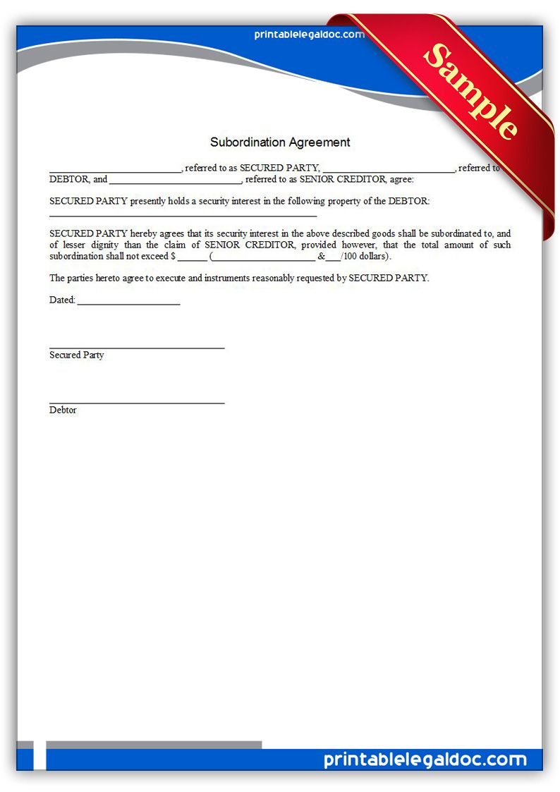 Printable Subordination Agreement Template  Printable Legal Forms