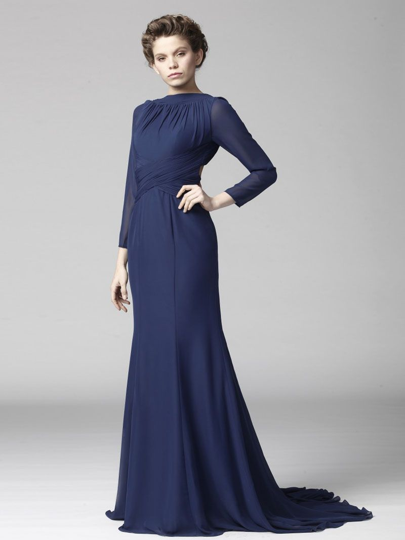 Finest Navy Bridesmaid Dresses Ideas : Sexy Navy Blue Long Sleeved ...