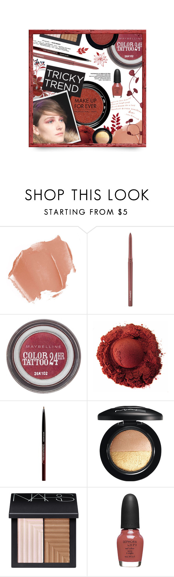 """""""Tricky Trend: Red Eye Makeup"""" by cultofsharon ❤ liked on Polyvore featuring beauty, MAKE UP FOR EVER, MAC Cosmetics, Maybelline, Kevyn Aucoin, Stila, NARS Cosmetics, Sephora Collection and Retrò"""