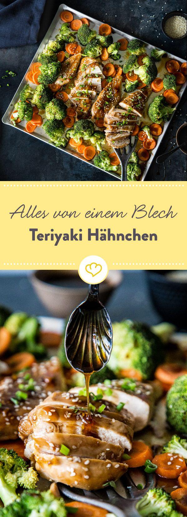 Alles von einem Blech – Teriyaki Hähnchen mit Gemüse #recipeshealthy