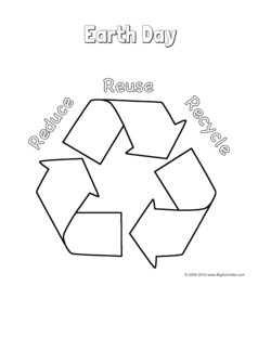 Earth Day coloring page with a picture of the recycling
