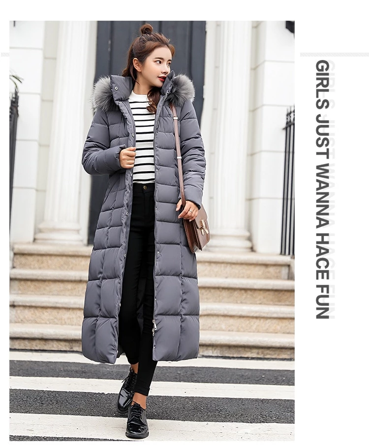 Fashion Winter Jacket For Women Big Fur Belt Hooded Thick
