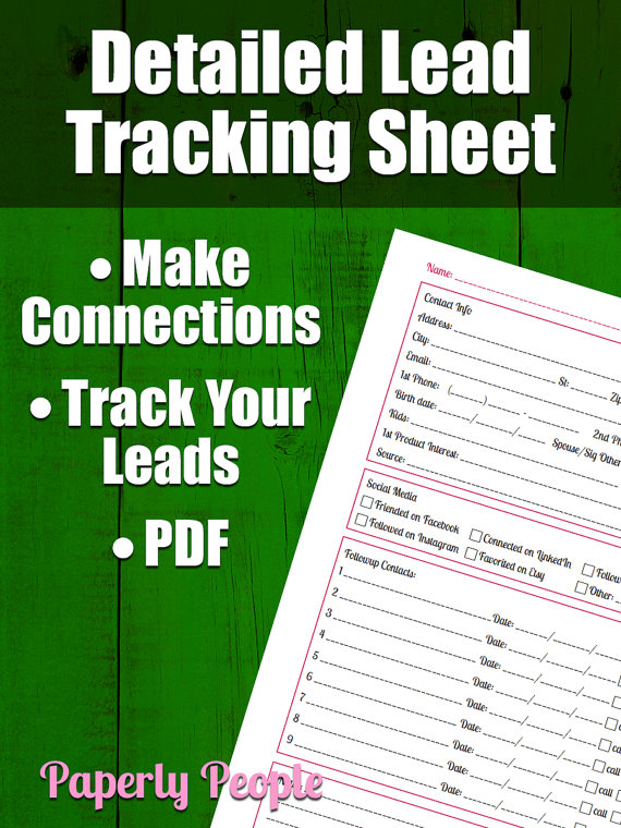 Lead Tracking Sheet Followup Worksheet For All By PaperlyPeople