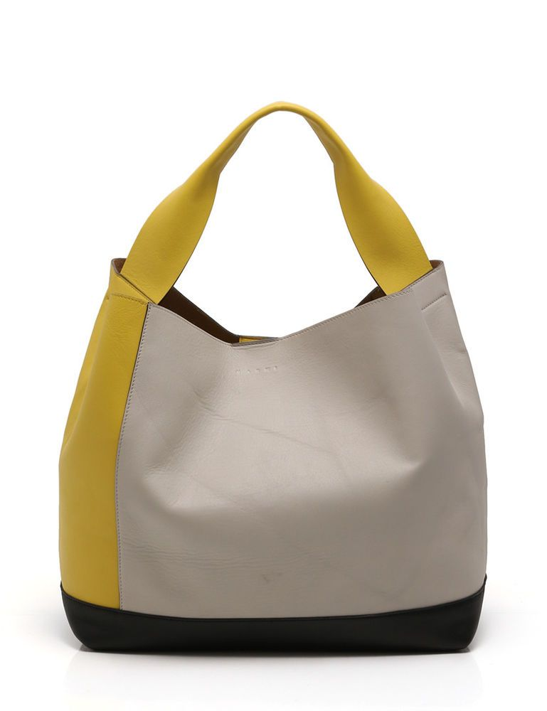 4bd82051fe MARNI POD BAG One shoulder bag leather yellow black gray