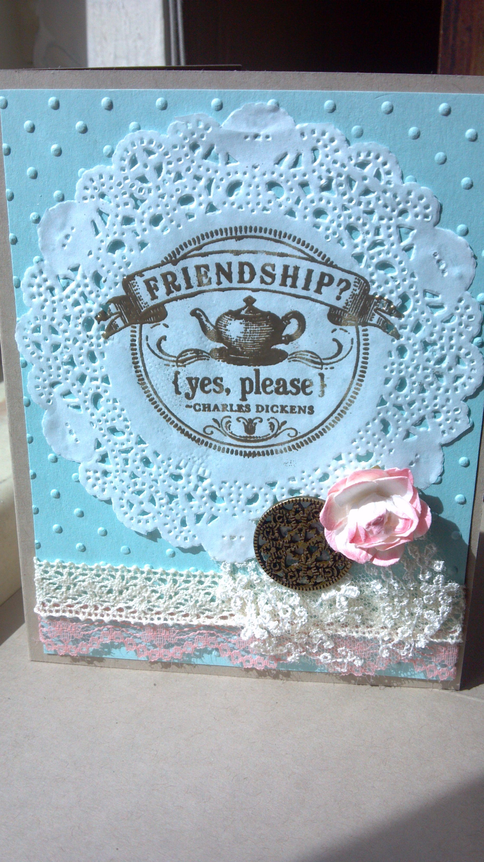 Stampin'Up Artisan Embellishments, Polka Dot Embossing background, White Tea Lace Doilies on Crumb Cake and Pool Party cardstock. Stamp is FROM MY HEART stamp set.