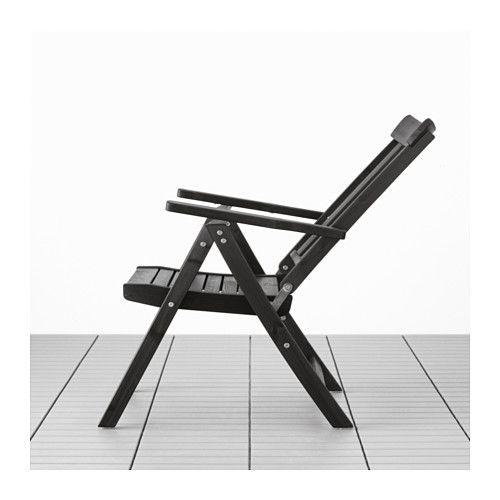 ÄNGSÖ Reclining Chair, Outdoor   Folding Black Brown Stained,     IKEA