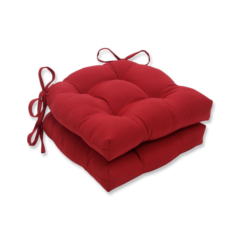 Set Of 2 Indoor Outdoor Reversible Chair Pad Red Pillow Perfect