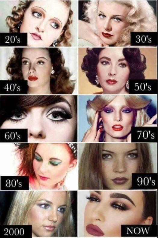Makeup Evolution Retro Makeup Vintage Makeup Makeup Trends