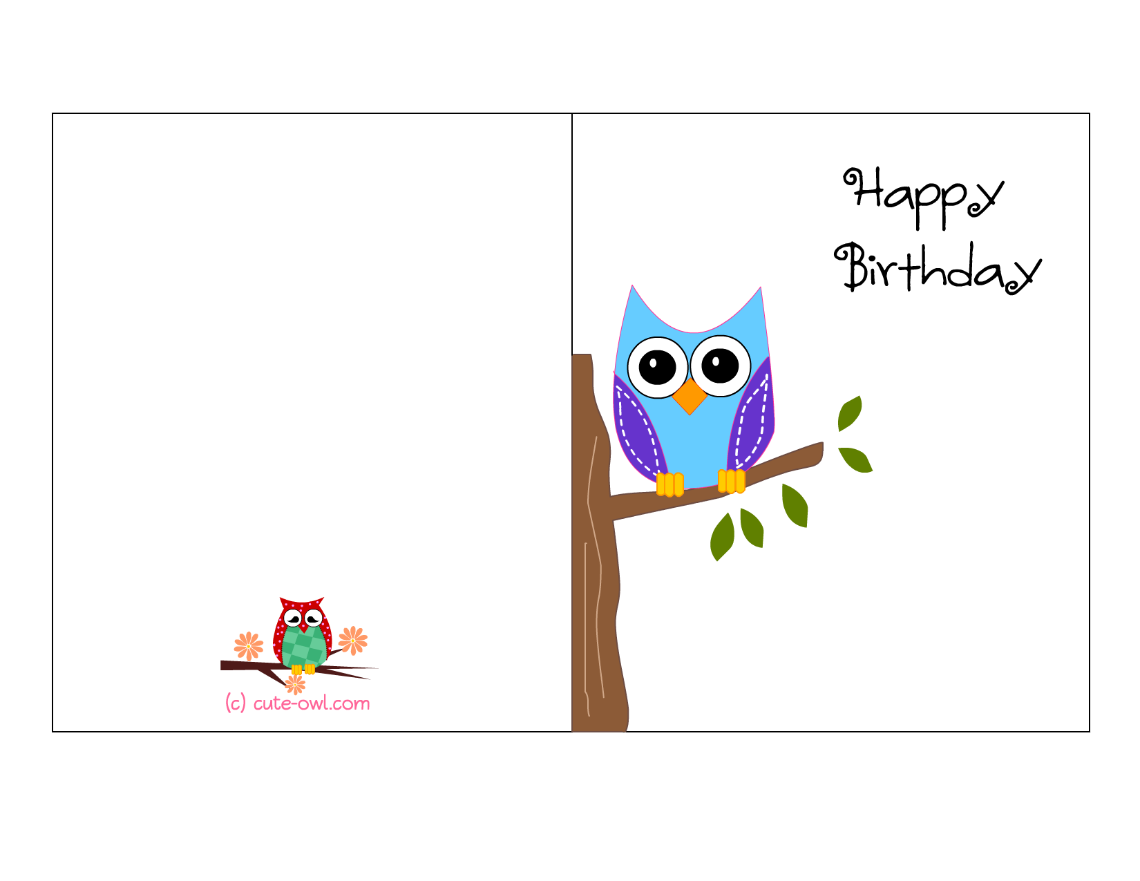 Cute Owl Sitting On A Branch Happy Birthday Card