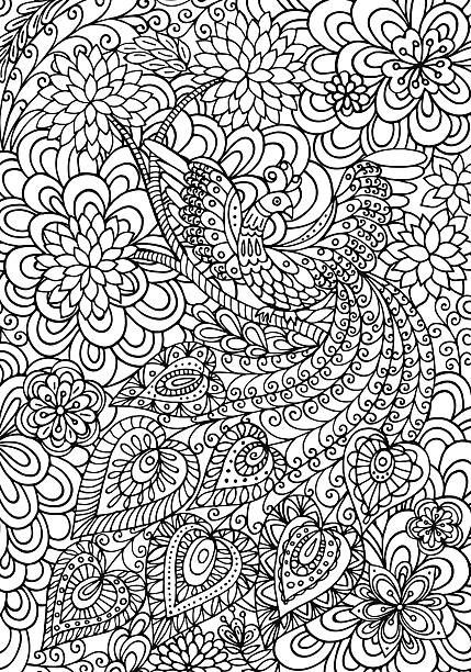 Coloring page with fairy tale bird and beautiful floral garden….