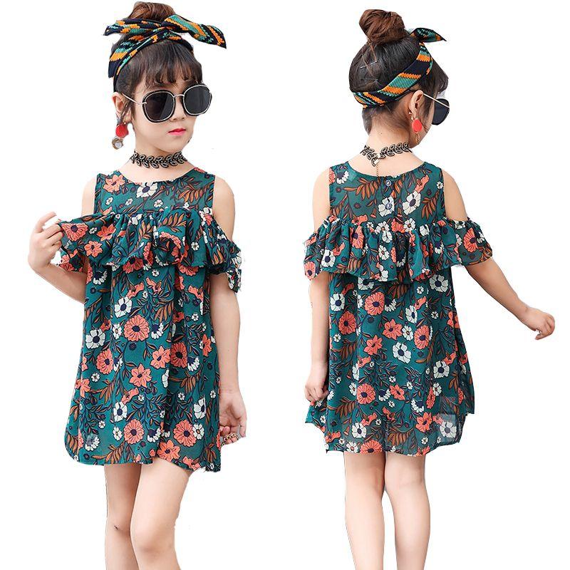 a99e5aa998d Kids Dresses For Girls Floral Print Girls Dresses Chiffon Off Shoulder  Princess Party Dresses 2 4