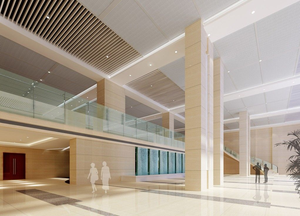 Business lobby design business office building lobby for Villa lobby interior design