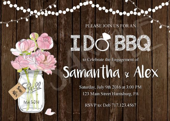I DO BBQ Invitation, Rustic Mason Jar, Engagement Party Invitation, Rustic Engagement, Wedding I do Bbq FREE Thank You Included