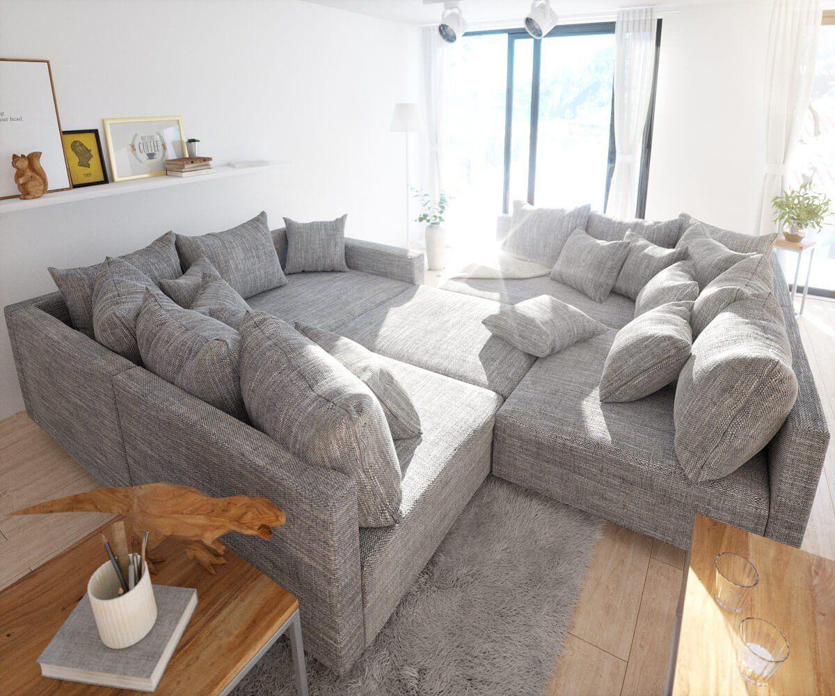 sofa clovis erweiterbares modulsofa eckcouch wohnlandschaft sofa xl mit hocker armlehne grau