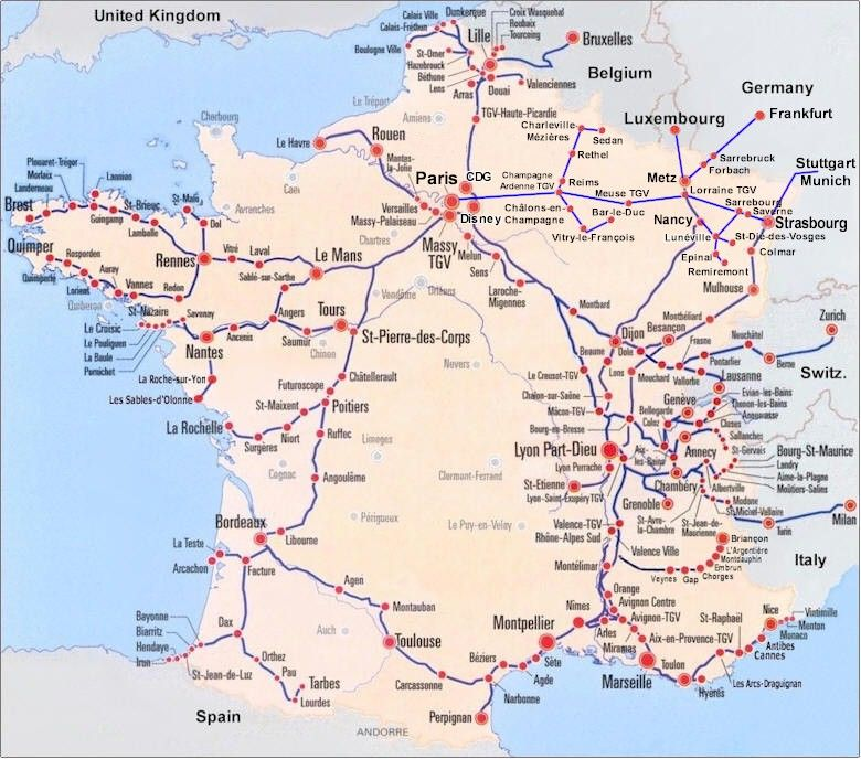 Clear Map Of France.This Is Just A Clear Picture On Routes Of Trains In France Used For
