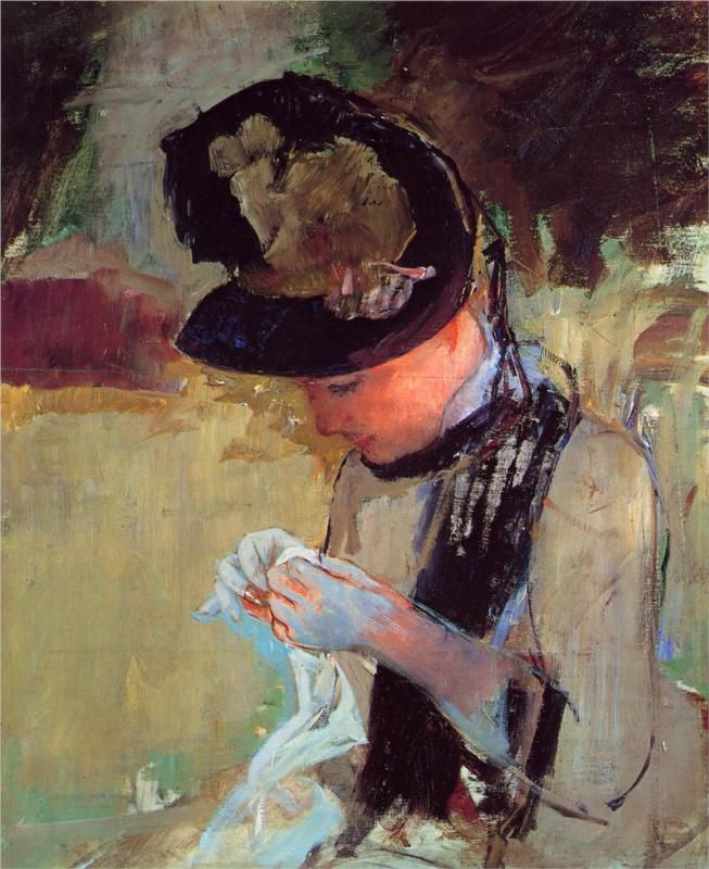 Young Woman Sewing in the Garden, 1886 Mary Cassatt
