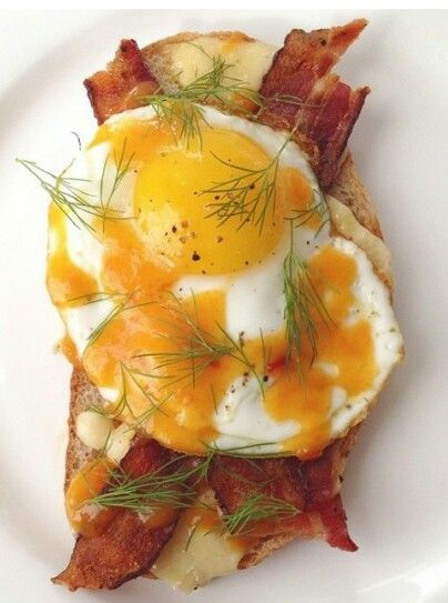 Fried egg and bacon sandwich.