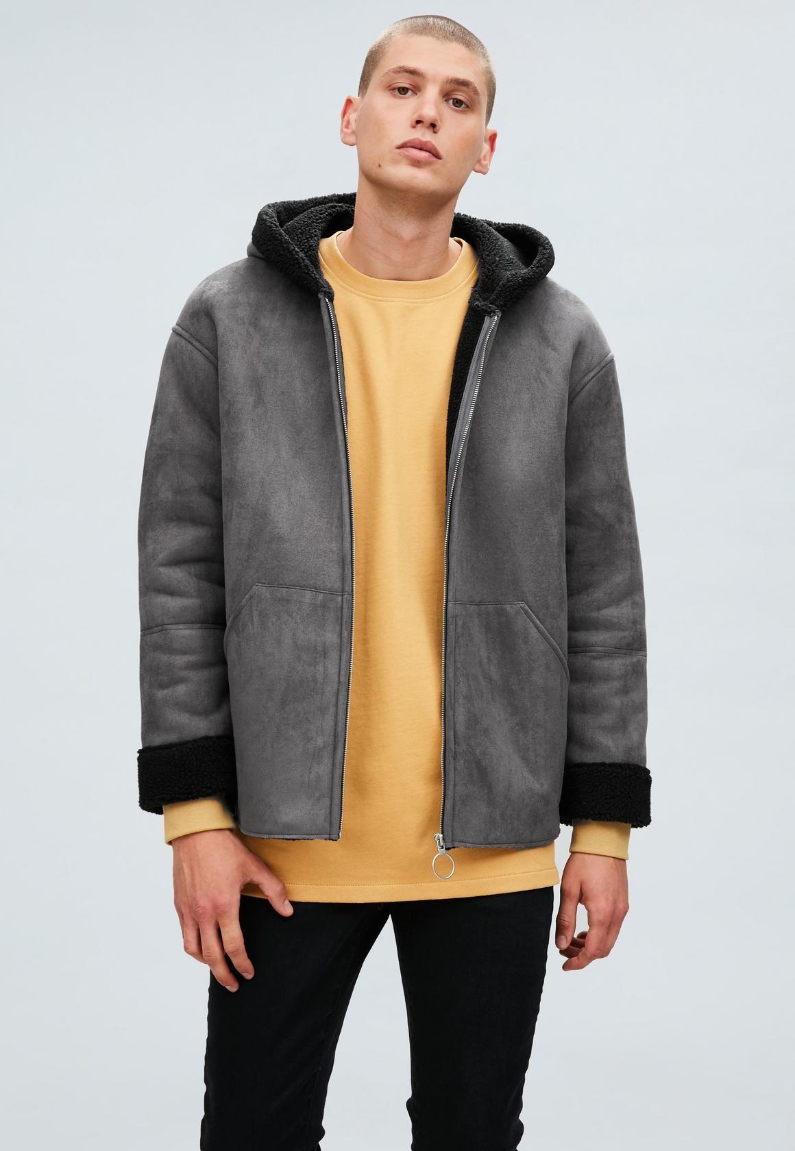342873310b99 Mennace - Grey Oversized Hooded Zip-Through Borg Jacket
