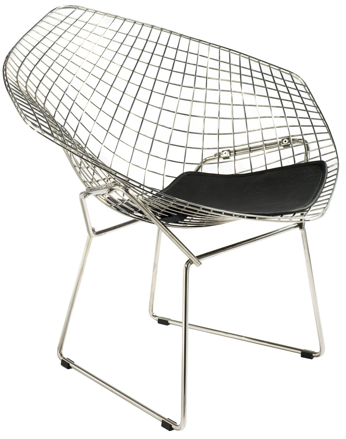 Bertoia diamond chair dimensions - Distinctive Design From 1952 Sculptural Wire Rod Frame Black Italian Leather Seat Can Be Used Outside Innovative And Elegant The Bertoia Diamond Chair Is A