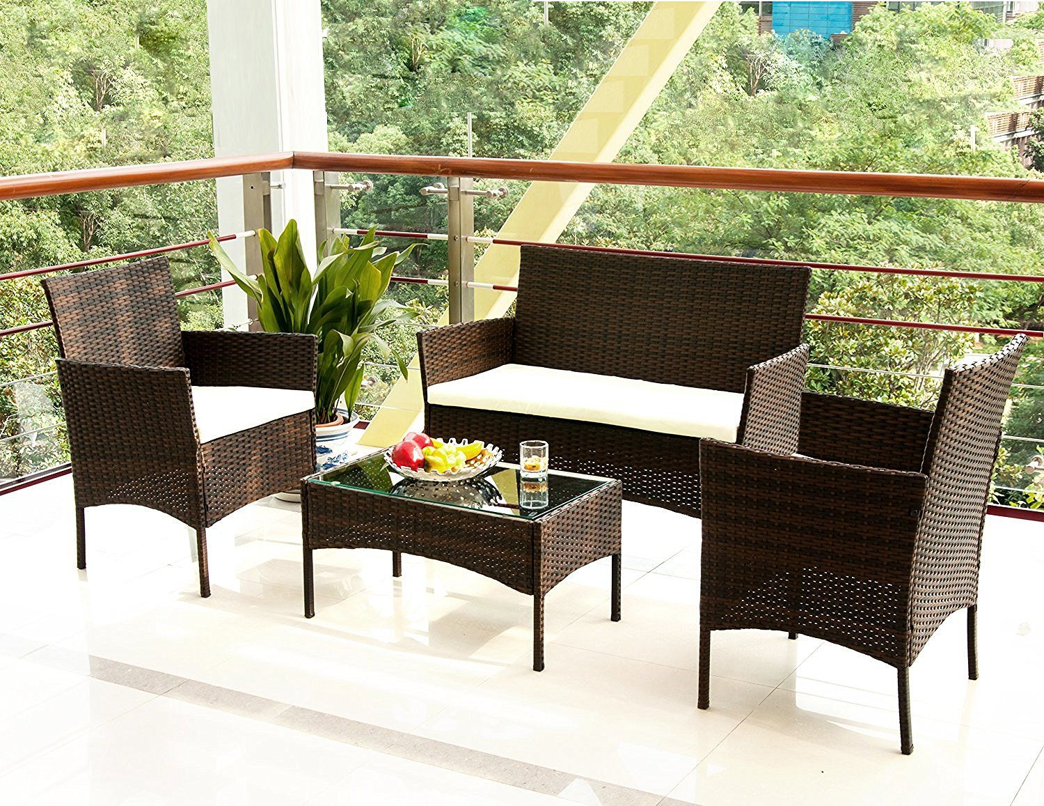 Attractive Amazon.com : Merax 4 PC Outdoor Garden Rattan Patio Furniture Set Cushioned  Seat Wicker