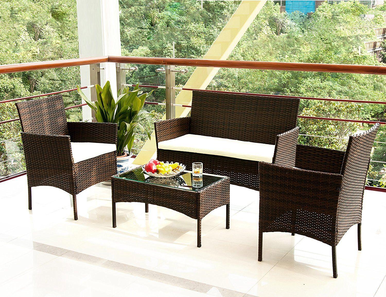 Merax 4 Pc Garden Rattan Wicker Sofa Set Outdoor Wicker Patio