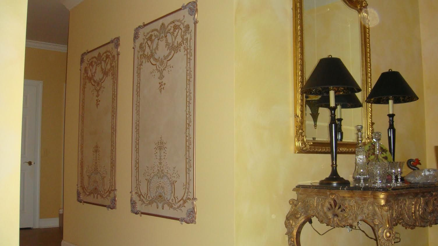 Beaux-Arts Georgian Wall Panels with hand painted Georgian Canvas ...