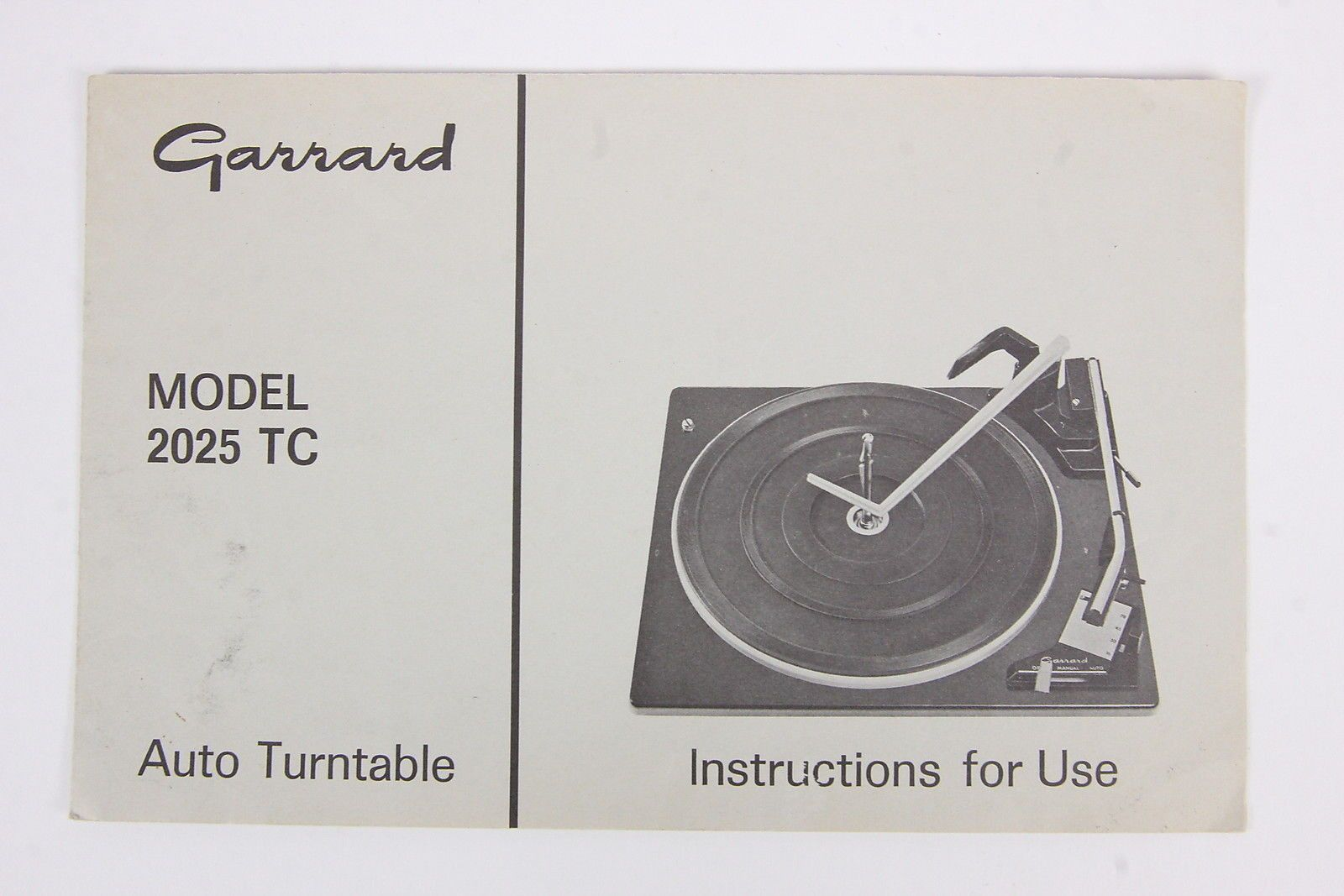 Garrard Model 2025 TC Auto Turntable Owners Manual