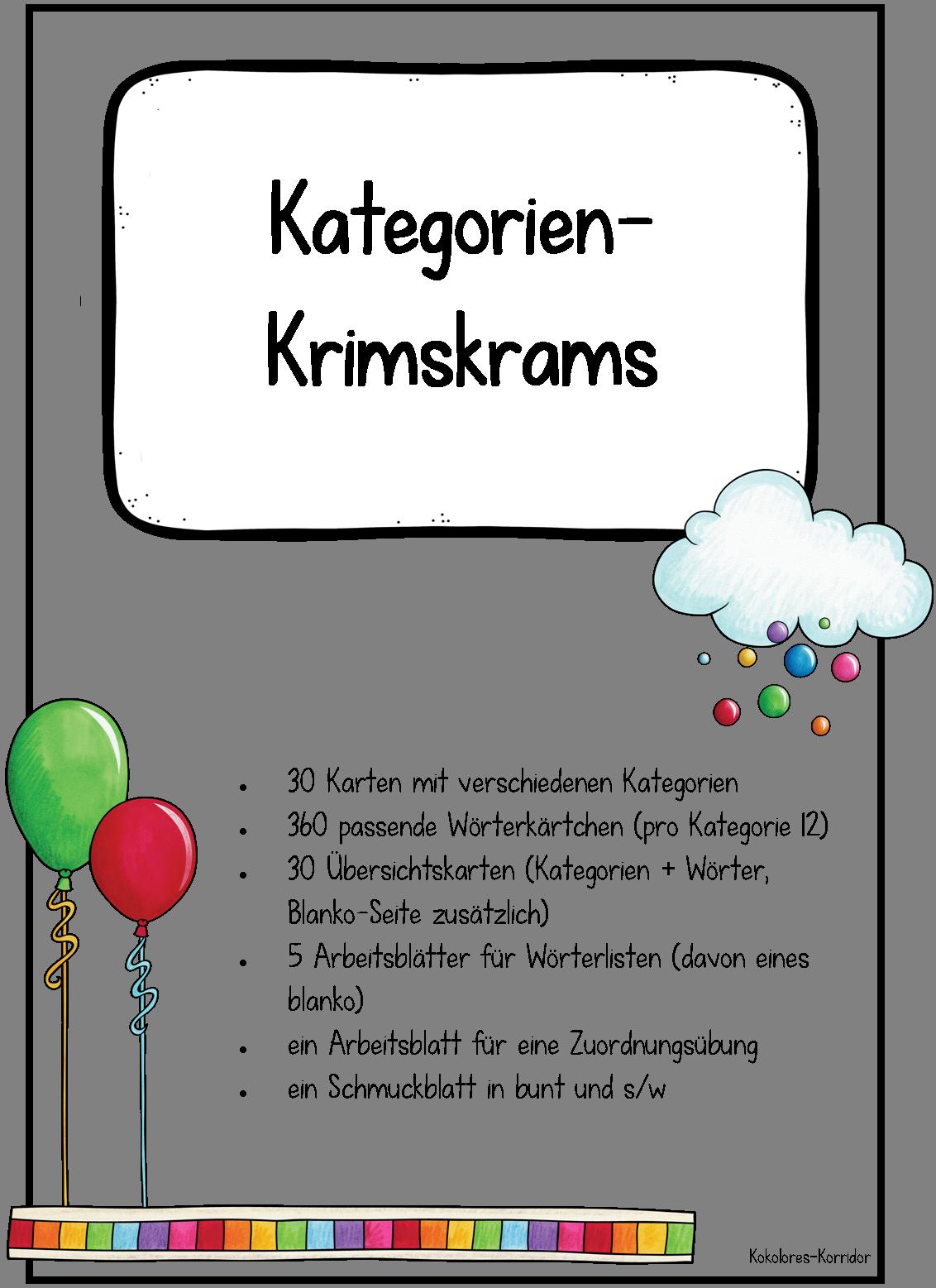 Kategorien-Krimskrams: Wortschatz, Lesen & Rechtschreibung – Deutsch ...