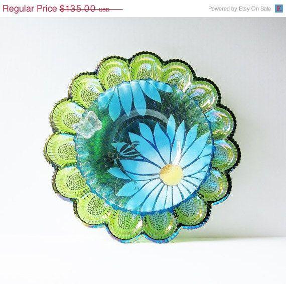 Garden Art Glass Egg Plate Flower Dragonfly Yard Decor Vintage Suncatcher Reclaimed Material VERNA on Etsy, $121.50