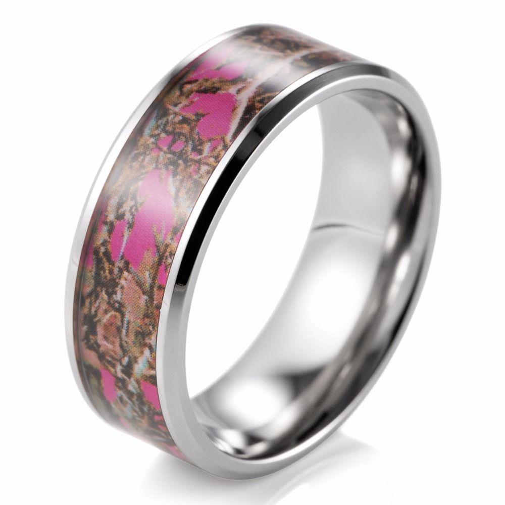 8mm pink muddy girl camo ring beveled titanium camouflage