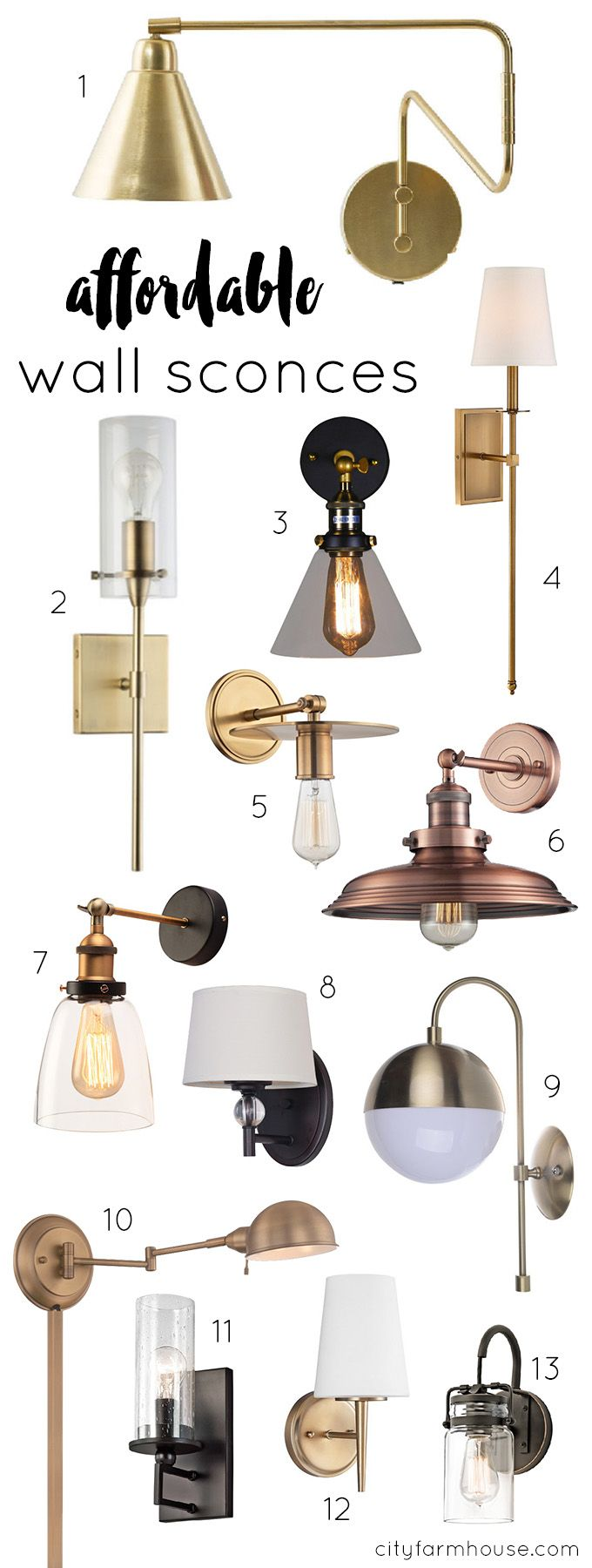 13 Affordable Wall Sconces Farmhouse Wall Sconces